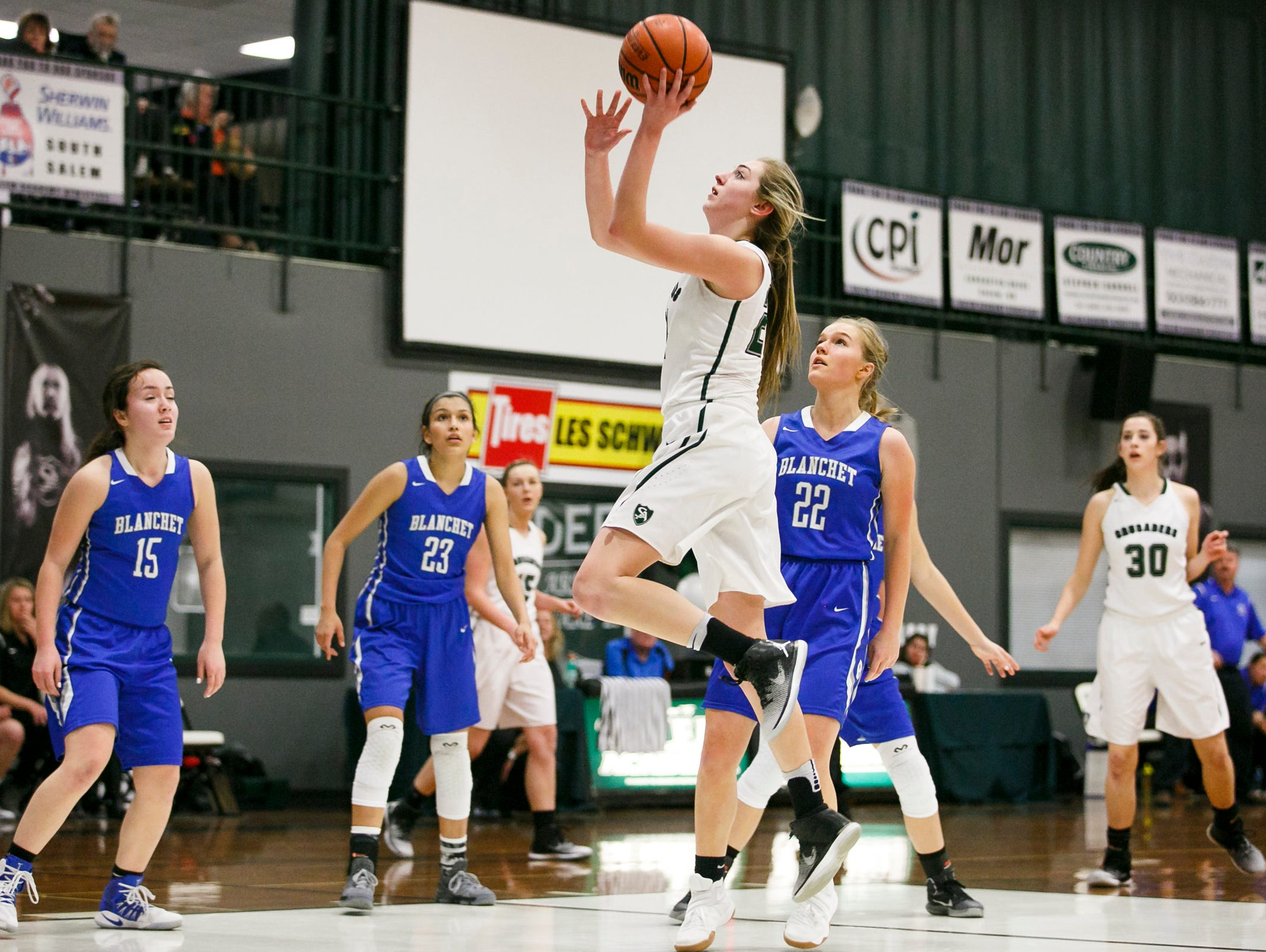 Salem Academy's Sydney Brown has been named the PacWest Conference girls basketball player of the year.