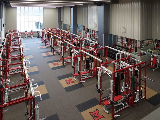The weight room in the Athletic Performance Center at Miami University