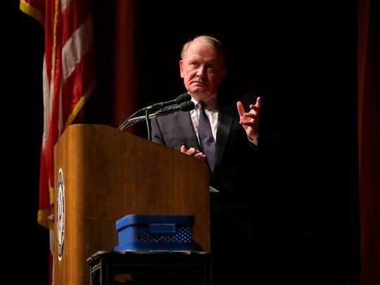 Congressman Leonard Lance holds a town hall meeting at Raritan Valley Community College in Branchburg, NJ Wednesday February 22, 2017.