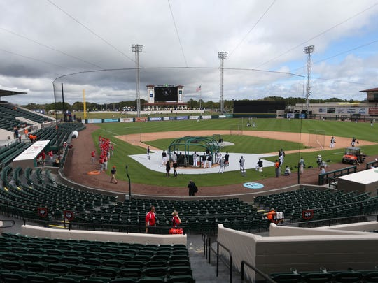 Overall view of Publix Field at Joker Marchant Stadium in Lakeland, Fla., on Feb. 23, 2017, where the Tigers beat Florida Southern in an exhibition game, 8-0.