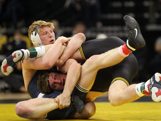 Penn State's Bo Nickal pinned Iowa's Sammy Brooks in 38 seconds on Jan. 20 at Carver-Hawkeye Arena. Nickal is the No. 1 seed at 184 pounds this week at the Big Ten Championships, and Brooks is No. 2.