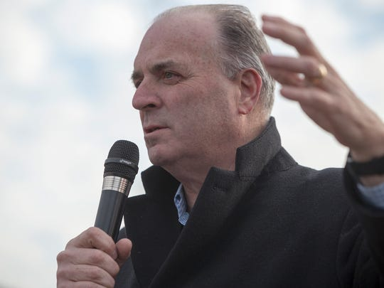U.S. Representative Dan Kildee speaks to a large crowd during the Selma Solidarity March on Sunday, March 5, 2017 in Flint.