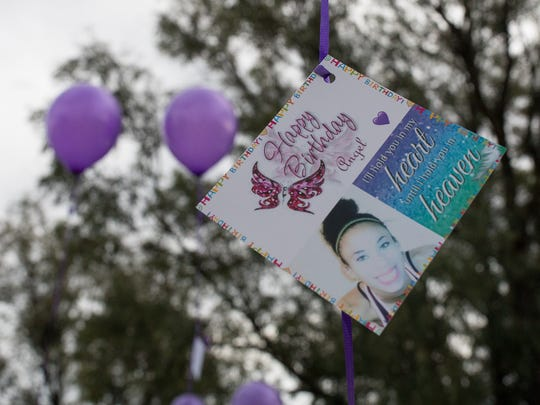 A photo of Breanna Wood on a balloon during a vigil at the Corpus Christi Christian Fellowship Church on what would have been Breanna's  22nd birthday, Wednesday, March 8, 2017.