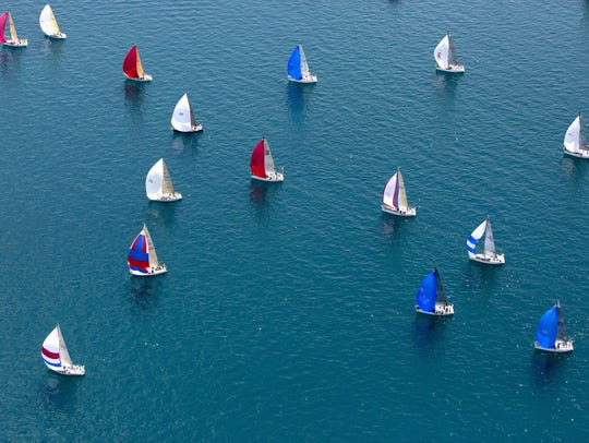 Boats take off from the start during the Port Huron-to-Mackinac