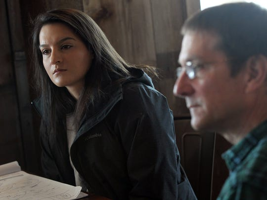 Katie Goering and her father, Paul Rasch, discuss plans for Rapid Creek Cidery at Wilson's Orchard on Wednesday, March 15, 2017.