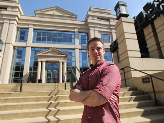 University of Iowa senior Matthew Rooda poses for a photo outside the Pappajohn Business Building on Monday, March 20, 2017.