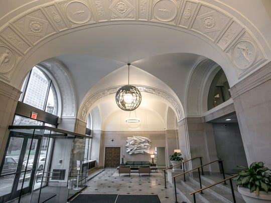 The lobby area at 615 W. Lafayette in downtown Detroit