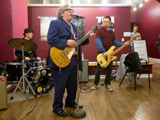 """Jeff Grand and the Grandmasters perform at Cinema Detroit before the screening of """"Uncle Jesse - Portrait of a Delta Blues Man in Detroit,"""" for the Freep Film Festival on Friday, March 31, 2017 in Detroit."""