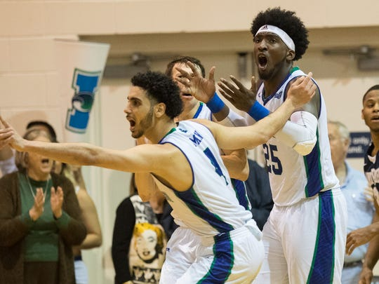 Texas A&M-Corpus Christi players reacts after Rashawn Thomas has a foul called on him with the score tied seconds left on the clock during second half of the College Insider.com Tournament final against Saint PeterÕs at Dugan Wellness Center on Friday, March 31, 2017.