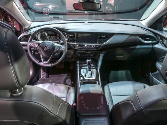 The interior of the 2018 Buick Regal TourX is seen at the unveiling of the vehicle on Tuesday April 4, 2017 at the General Motors Design Dome in Warren.