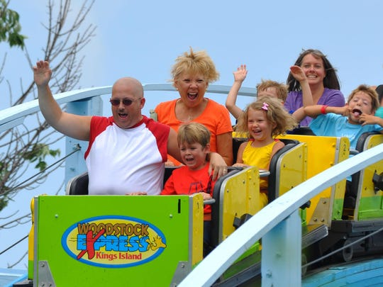 In 2011, riders take a turn on the Woodstock Express.