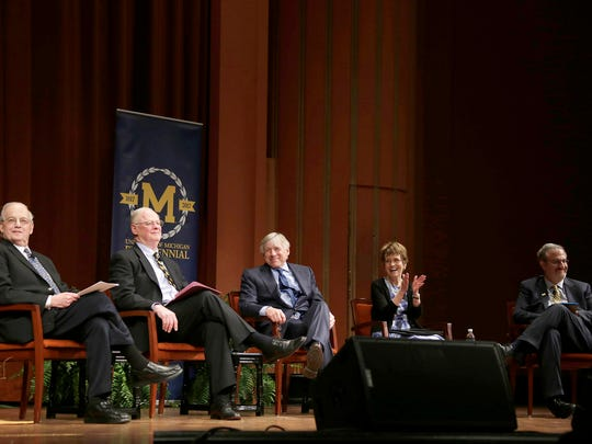 Former University of Michigan Presidents Harold Shiparo, left, James Duderstadt, Lee Bollinger and Mary Sue Coleman join current president Mark Schlissel during a program at Rackham Auditorium in Ann Arbor on Thurs., April 6, 2017.