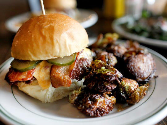 Grind's Southern burger, with a side of Brussel sprouts.