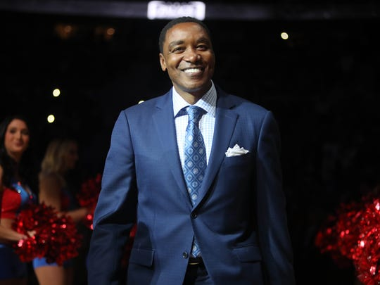 Pistons legend Isiah Thomas is introduced during halftime of the Pistons' 105-101 loss to the Wizards in the final game at the Palace of Auburn Hills April 10, 2017.