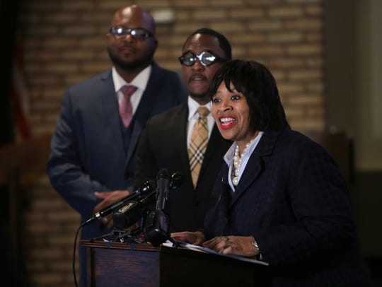 Detroit City Council President Brenda Jones speaks