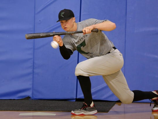 Connor Gilham, a sophomore pitcher and first baseman for Chemeketa baseball, practices at Chemeketa Community College in Salem on Wednesday, April 19, 2017.