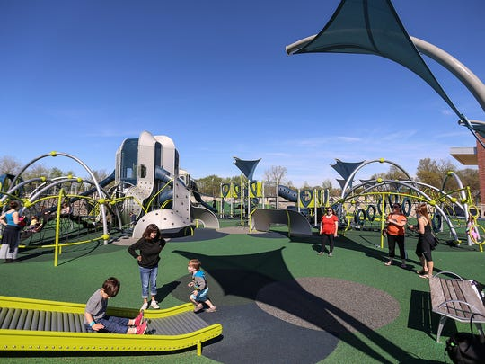 The West Commons playground in Carmel, Ind., photographed