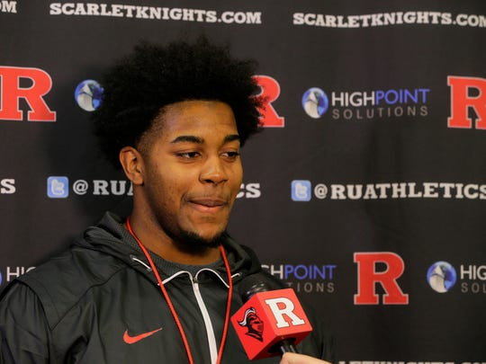 Offensive lineman Jamaal Beaty of St. John Vianney  speaks to the media as one of the Scarlet Knights?  recruiting class members during National Signing Day  on Wednesday. Jamal Beaty of St. John Vianney High School speaks to the media as one of the Scarlet Knights' 29 recruiting class members during National Signing Day at Rutgers University's Hale Center in Piscataway, NJ Wednesday February 1, 2017.
