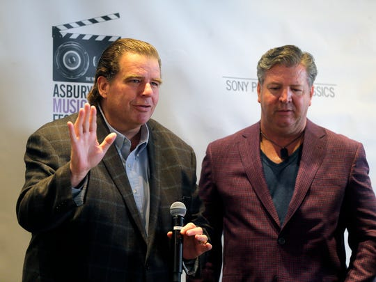 "Tom Jones, director of ""Just Before Dawn,"" accepts the Asbury Park Press Award from Thomas M. Donovan, Northeast regional president of Gannett East Newspaper Group, during the Asbury Park Music and Film Festival Awards Brunch at The Asbury Hotel in Asbury Park, NJ Sunday April 23, 2017."