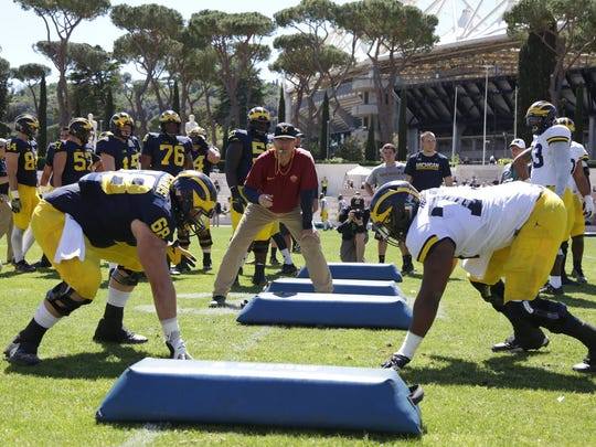 University of Michigan head football coach Jim Harbaugh