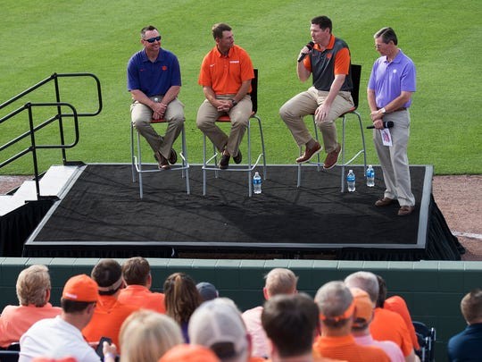 Clemson University head baseball coach Monte Lee, head football coach Dabo Swinney and head basketball coach Brad Brownell answer fan questions about their teams during the Prowl & Growl at Fluor Field on Wednesday, May 3, 2017.