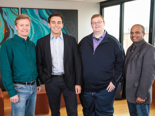 From left: Peter Rander, Argo AI COO; Mark Fields, Ford president and CEO; Bryan Salesky, Argo AI CEO; and Raj Nair, Ford executive vice president, Product Development, and chief technical officer. Ford is investing $1 billion during the next five years in Argo AI, combining Ford's autonomous vehicle development expertise with Argo AI's robotics experience and startup speed on artificial intelligence software--all to further advance autonomous vehicles.