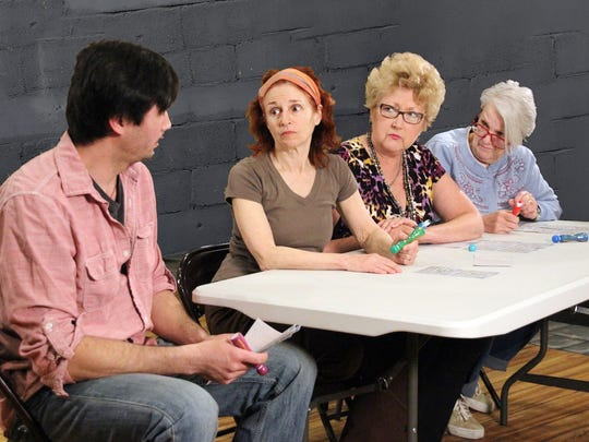 """Bradley Michael, left, Linda Rabin Hammell, Jan Cartwright and Margaret Gilkes in Open Book Theatre's staging of """"Good People."""""""