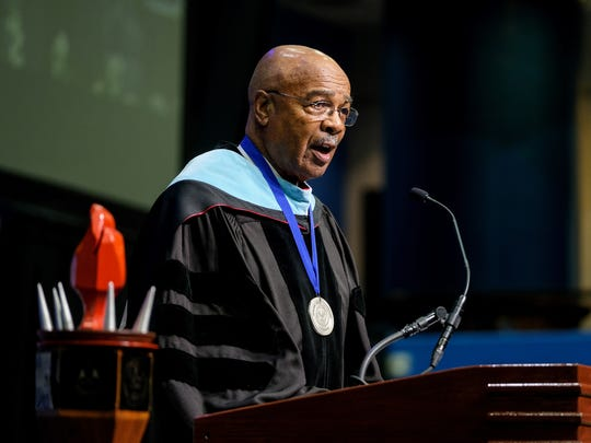 JSU Interim President Rod Paige, pictured here at the university's Graduate School commencement on April 28, received an honorary Doctor of Humane Letters on Saturday at Indiana University Bloomington.