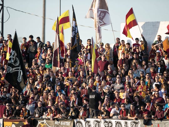 Detroit City FC fans watch action against the Milwaukee Torrent on Friday, May 12, 2017, at Keyworth Stadium in Hamtramck.
