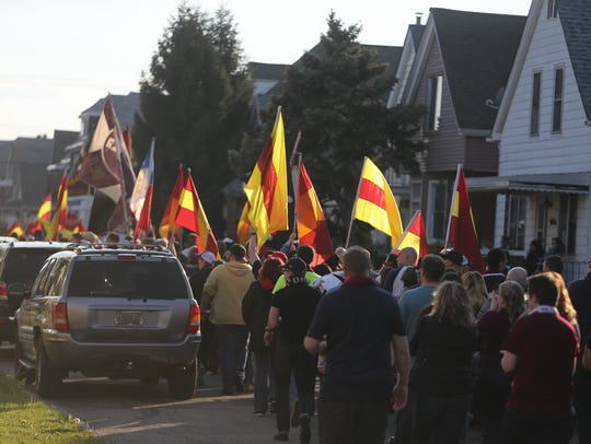 Detroit City FC fans walk to the game against the Milwaukee