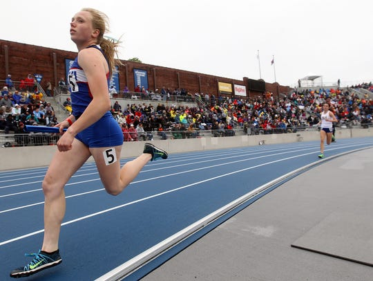 Decorah's Katie Nimrod races down the track during