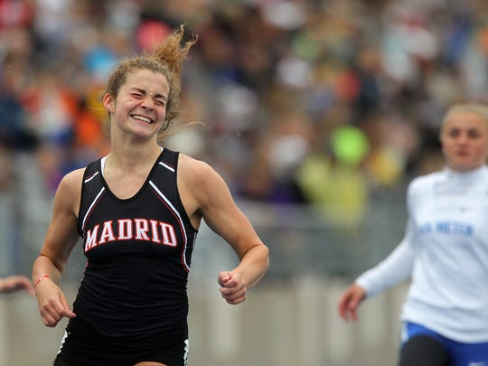 Madrid's Rylan Santi celebrates her 2A girls 100 meter
