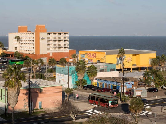 North Beach, seen from the Harbor Bridge, is home to several attractions popular with tourists. Corpus Christi was named one of the top 50 travel destinations by TripAdvisor, based on seasonal hotel bookings.