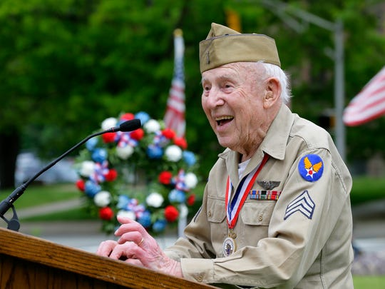 WWII Army Air Force veteran Hjalmar Johansson, a WWII POW, acts as the keynote speaker during the Morris County's Memorial Day ceremony for veterans on the lawn in front of the Morris County Courthouse in Morristown, NJ Wednesday May 24, 2017.