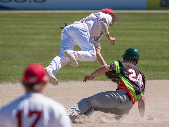 Lakeview graduate Gavin Homer gets the out at second base during Tuesday's game at C.O. Brown Stadium.