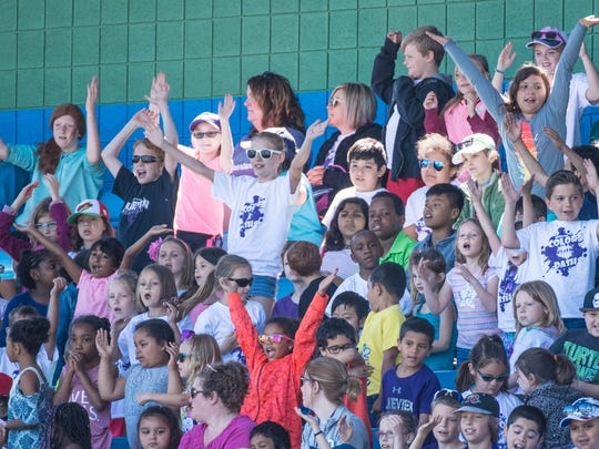 Battle Creek area students have some fun at C.O. Brown Stadium during the annual Battle Creek Bombers Kids Day on Tuesday.