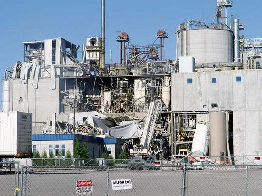 The destruction left after a May 31 explosion at the corn mill plant at the Didion Milling complex greets drivers along Highway 146 by Cambria. Three workers died in the explosion. Two other workers died in the hospital.