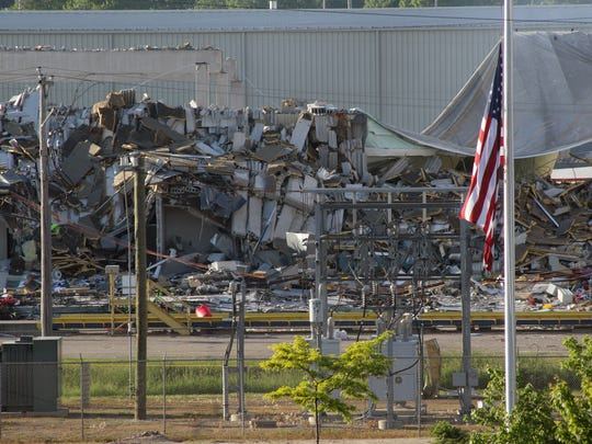 The destruction left after a May 31 explosion at the corn mill plant at Didion Milling greets drivers heading north on Highway 146 by Cambria. Three workers died in the explosion. Two other workers died in the hospital from injuries sustained in the explosion.