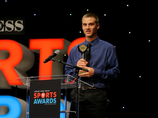Matt Shiffer of Toms River South accepts the Baseball Player of the Year Award during the Asbury Park Press Sports Awards at the Count Basie Theatre in Red Bank, NJ Wednesday, June 14, 2017.  #APPSportsAwards