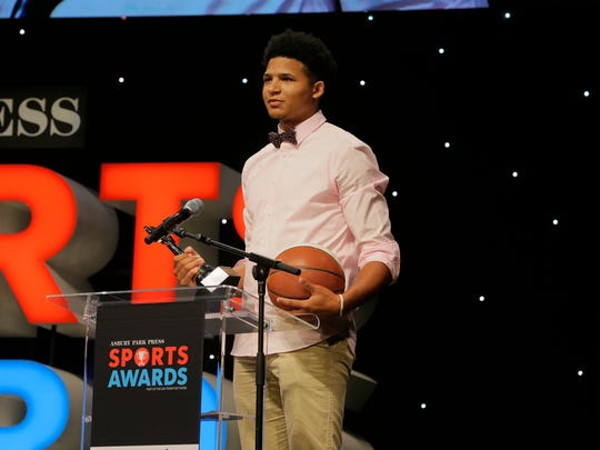 Elijah Barnes of Mater Dei accepts the Boys Basketball Player of the Year Award during the Asbury Park Press Sports Awards at the Count Basie Theatre in Red Bank, NJ Wednesday, June 14, 2017.  #APPSportsAwards