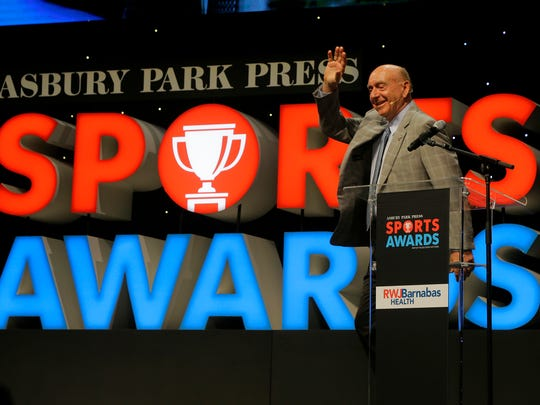 Dick Vitale, college basketball broadcaster for ESPN, speaks during the Asbury Park Press Sports Awards at the Count Basie Theatre in Red Bank, NJ Wednesday, June 14, 2017.  #APPSportsAwards