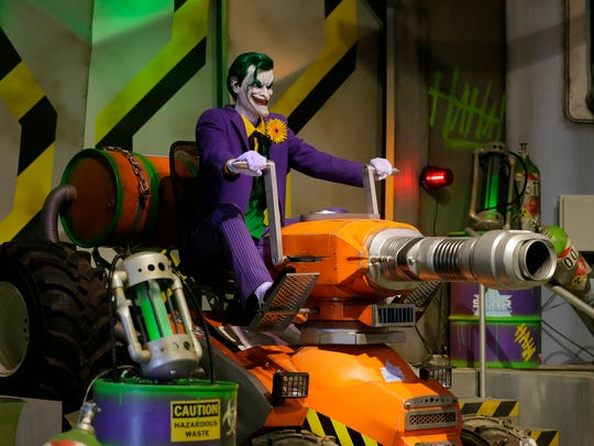 Detail of The Joker feature inside the ride during the press preview of the new Justice League: Battle for Metropolis ride at Six Flags Great Adventure in Jackson in Jackson, NJ Thursday, June 15, 2017.