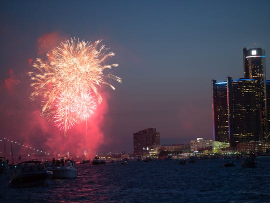 More than 10,000 fireworks are shot from barges in the Detroit River during the Ford Fireworks.