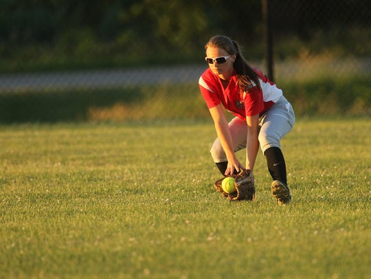 West Branch's Taylor Thein scoops up a ground ball