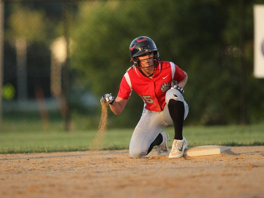 West Branch's Nicki Henson waits at second base during