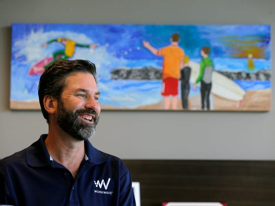 ChrisSullens, president and CEO ofWorkWave, talks about the company's unique work spaces at Bell Works, which is slowly becoming one of the hippest places to work in New Jersey, if not the country, in Holmdel, NJ Wednesday, June 22, 2017.