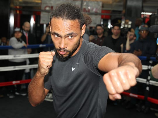 Welterweight champion Keith Thurman participates in a media workout in March.