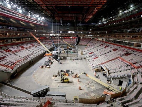 Work continues on the arena area during a construction