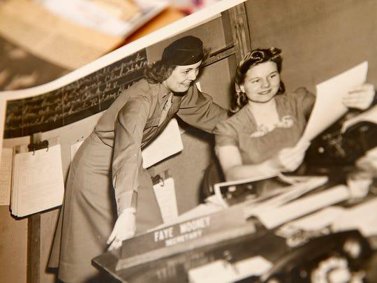 "Alice ""Nora"" Howes (left), now 99, is shown with her secretary in this photo from her service in the Women's Army Corp from 1943-1969."