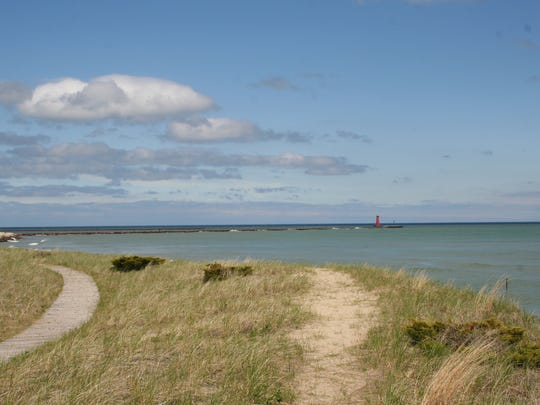 Lake Michigan shoreline as seen from Sheboygan, Wisconsin.